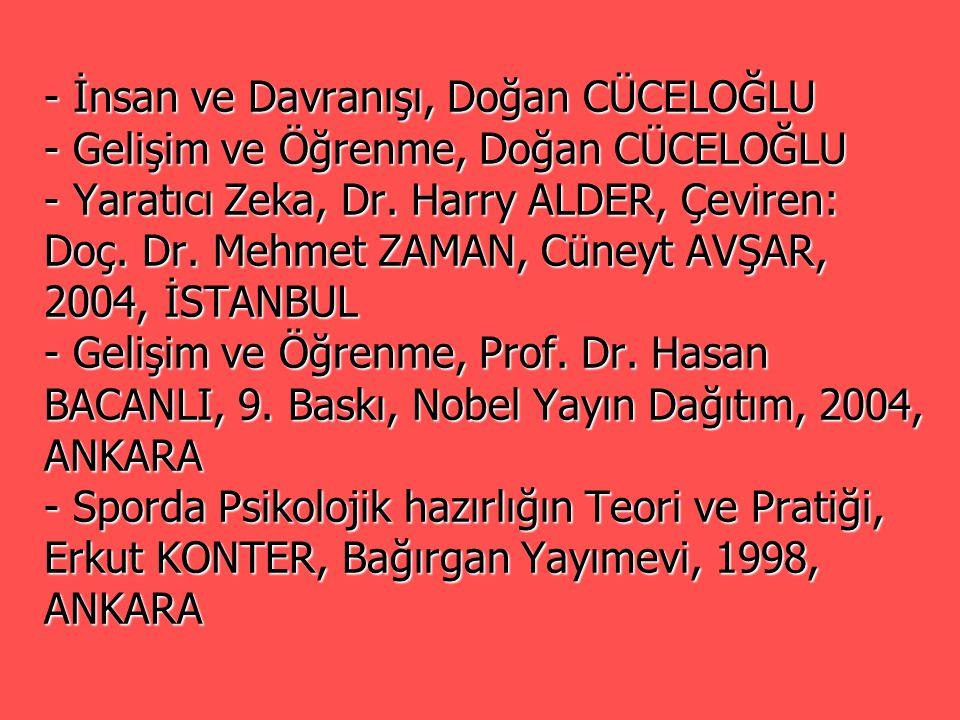 - İnsan ve Davranışı, Doğan CÜCELOĞLU - Gelişim ve Öğrenme, Doğan CÜCELOĞLU - Yaratıcı Zeka, Dr. Harry ALDER, Çeviren: Doç. Dr. Mehmet ZAMAN, Cüneyt A