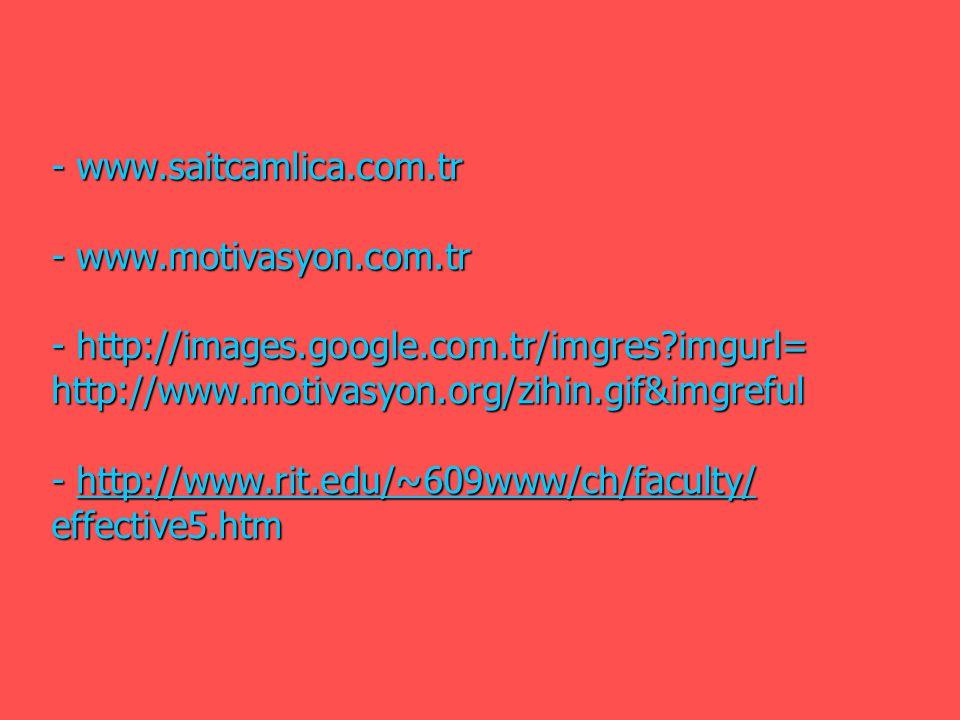 - www.saitcamlica.com.tr - www.motivasyon.com.tr - http://images.google.com.tr/imgres?imgurl= http://www.motivasyon.org/zihin.gif&imgreful - http://ww