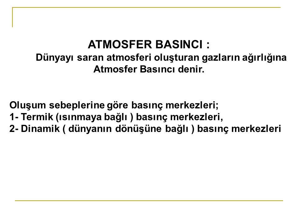 ATMOSFER BASINCI : Dünyayı saran atmosferi oluşturan gazların ağırlığına Atmosfer Basıncı denir.