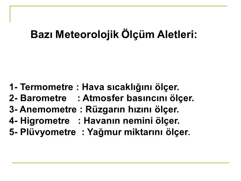 Bazı Meteorolojik Ölçüm Aletleri: 1- Termometre : Hava sıcaklığını ölçer.