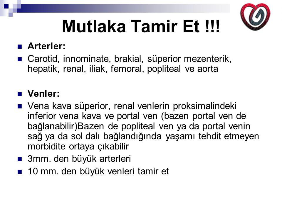 Mutlaka Tamir Et !!! Arterler: Carotid, innominate, brakial, süperior mezenterik, hepatik, renal, iliak, femoral, popliteal ve aorta Venler: Vena kava