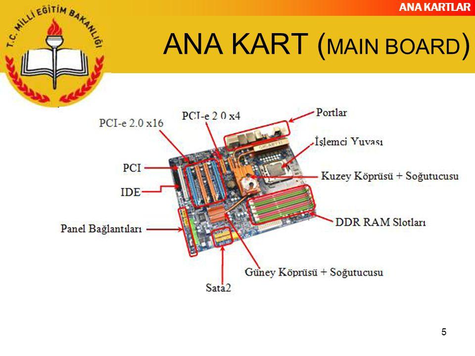 ANA KARTLAR 6 ANA KARTIN GÖREVİ Ana Kartın temel görevi, üzerinde bulunan birimler ile sonradan takılan birimler arasındaki bağlantıyı sağlamaktır.