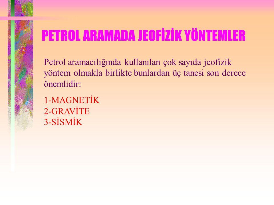 PETROL ARAMADA JEOFİZİK YÖNTEMLER Petrol aramacılığında kullanılan çok sayıda jeofizik yöntem olmakla birlikte bunlardan üç tanesi son derece önemlidir: 1-MAGNETİK 2-GRAVİTE 3-SİSMİK