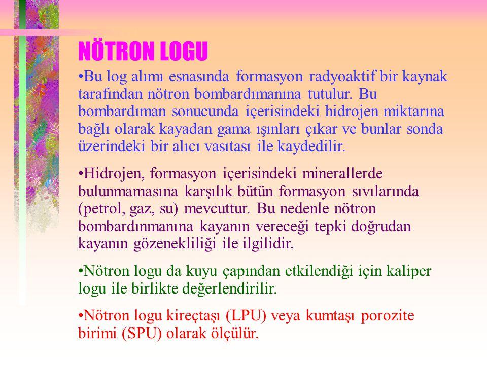 NÖTRON LOGU Bu log alımı esnasında formasyon radyoaktif bir kaynak tarafından nötron bombardımanına tutulur.