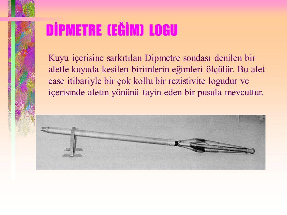 DİPMETRE (EĞİM) LOGU Kuyu içerisine sarkıtılan Dipmetre sondası denilen bir aletle kuyuda kesilen birimlerin eğimleri ölçülür. Bu alet ease itibariyle