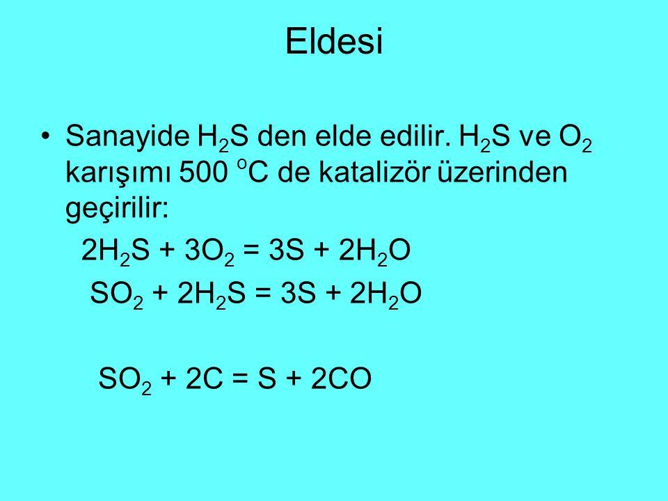 Eldesi Sanayide H 2 S den elde edilir.