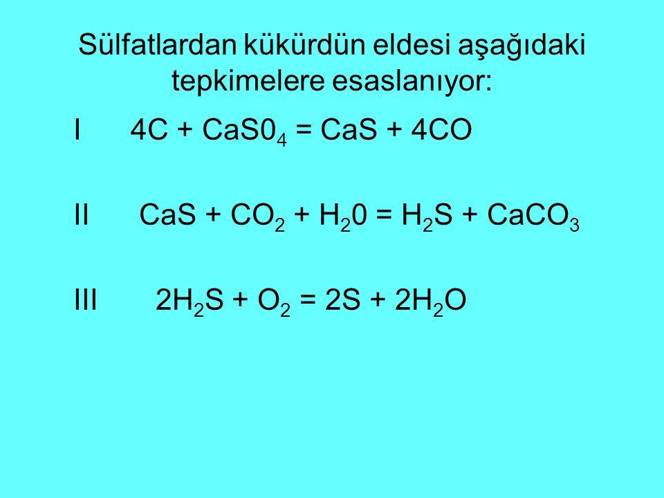 Sülfatlardan kükürdün eldesi aşağıdaki tepkimelere esaslanıyor: I 4C + CaS0 4 = CaS + 4CO II CaS + CO 2 + H 2 0 = H 2 S + CaCO 3 III 2H 2 S + O 2 = 2S + 2H 2 O