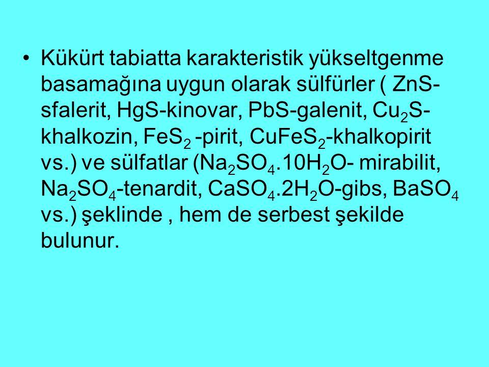 Kükürt tabiatta karakteristik yükseltgenme basamağına uygun olarak sülfürler ( ZnS- sfalerit, HgS-kinovar, PbS-galenit, Cu 2 S- khalkozin, FeS 2 -pirit, CuFeS 2 -khalkopirit vs.) ve sülfatlar (Na 2 SO 4.10H 2 O- mirabilit, Na 2 SO 4 -tenardit, CaSO 4.2H 2 O-gibs, BaSO 4 vs.) şeklinde, hem de serbest şekilde bulunur.