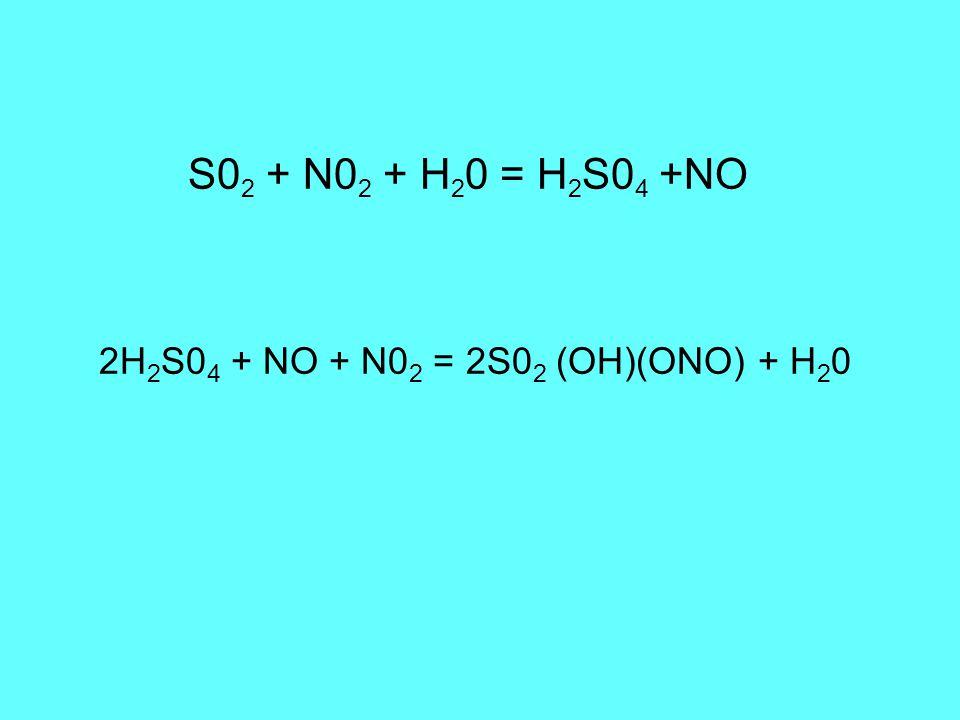 S0 2 + N0 2 + H 2 0 = H 2 S0 4 +NO 2H 2 S0 4 + NO + N0 2 = 2S0 2 (OH)(ONO) + H 2 0