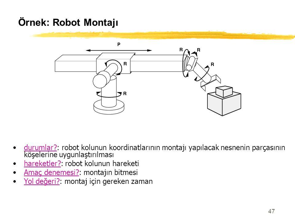 47 Örnek: Robot Montajı durumlar?: robot kolunun koordinatlarının montajı yapılacak nesnenin parçasının köşelerine uygunlaştırılması hareketler?: robo