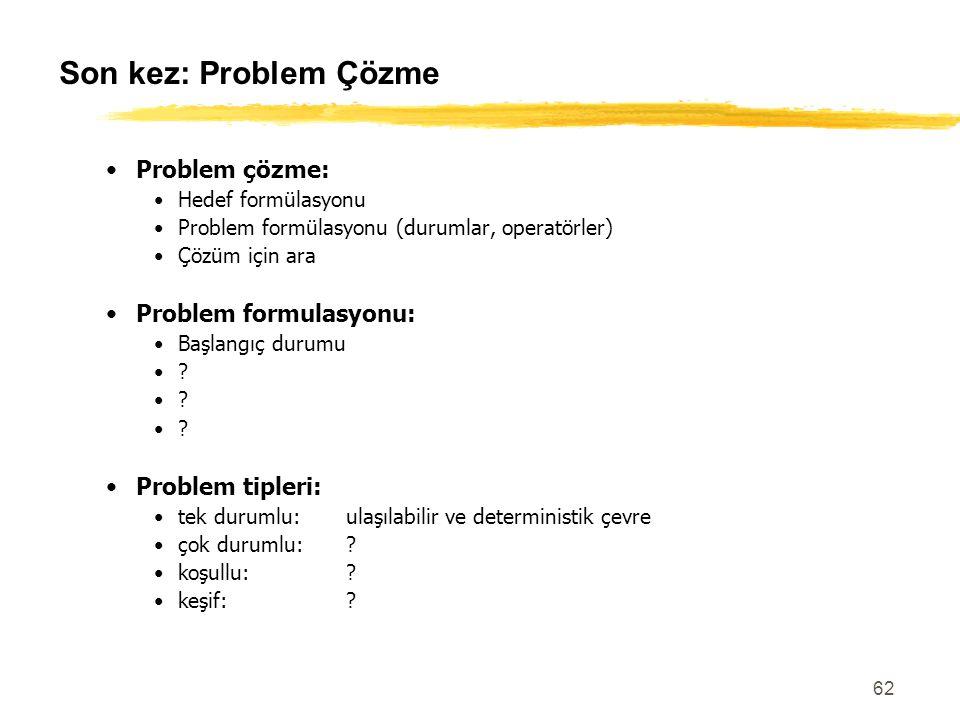 62 Son kez: Problem Çözme Problem çözme: Hedef formülasyonu Problem formülasyonu (durumlar, operatörler) Çözüm için ara Problem formulasyonu: Başlangı