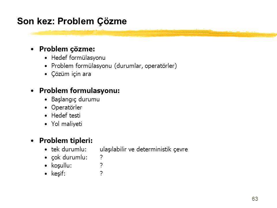 63 Son kez: Problem Çözme Problem çözme: Hedef formülasyonu Problem formülasyonu (durumlar, operatörler) Çözüm için ara Problem formulasyonu: Başlangı