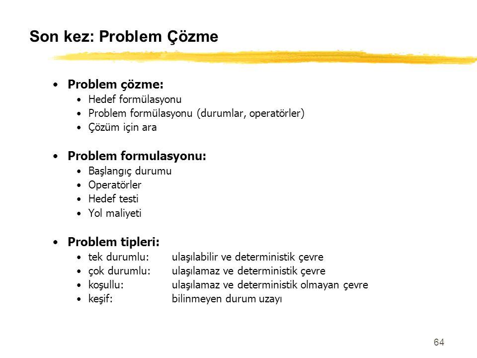 64 Son kez: Problem Çözme Problem çözme: Hedef formülasyonu Problem formülasyonu (durumlar, operatörler) Çözüm için ara Problem formulasyonu: Başlangı