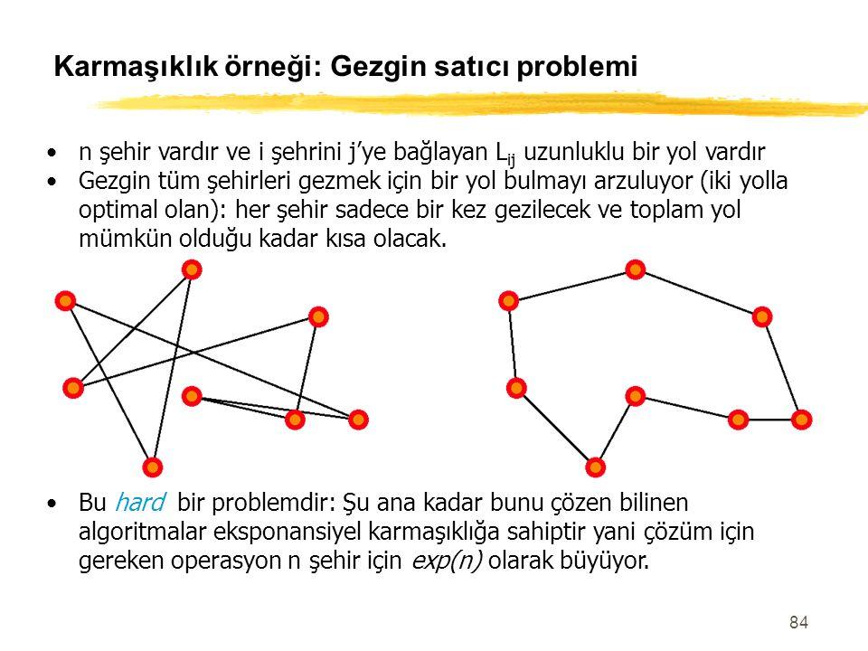 84 Karmaşıklık örneği: Gezgin satıcı problemi n şehir vardır ve i şehrini j'ye bağlayan L ij uzunluklu bir yol vardır Gezgin tüm şehirleri gezmek için