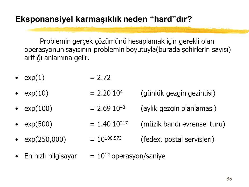 """85 Eksponansiyel karmaşıklık neden """"hard""""dır? Problemin gerçek çözümünü hesaplamak için gerekli olan operasyonun sayısının problemin boyutuyla(burada"""