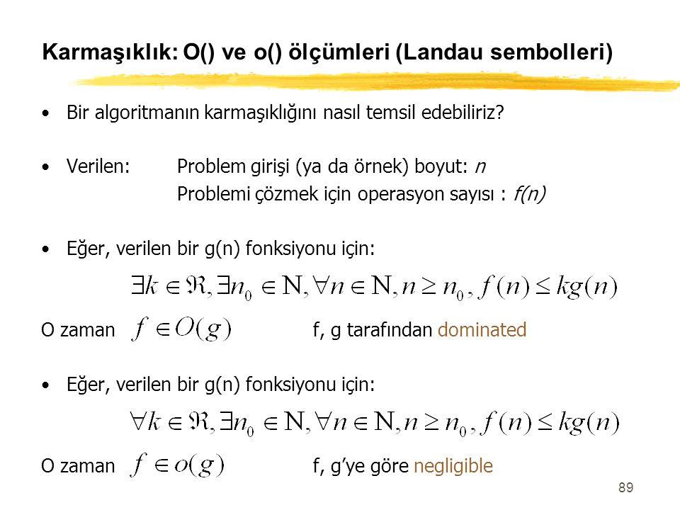 89 Karmaşıklık: O() ve o() ölçümleri (Landau sembolleri) Bir algoritmanın karmaşıklığını nasıl temsil edebiliriz? Verilen:Problem girişi (ya da örnek)