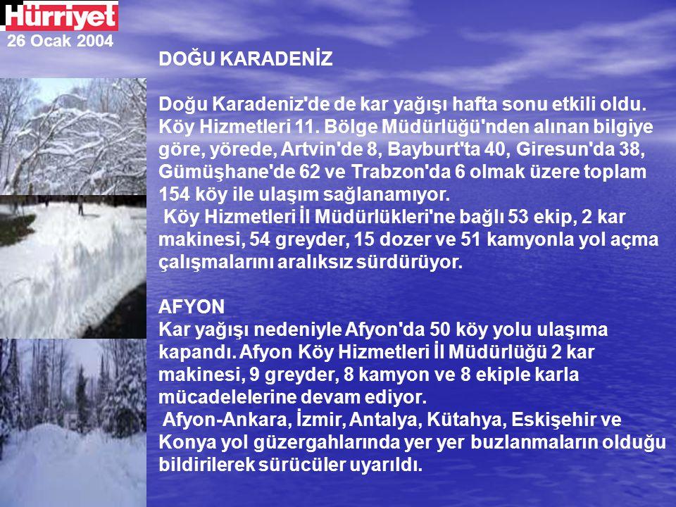 26 Ocak 2004 DOĞU KARADENİZ Doğu Karadeniz'de de kar yağışı hafta sonu etkili oldu. Köy Hizmetleri 11. Bölge Müdürlüğü'nden alınan bilgiye göre, yöred