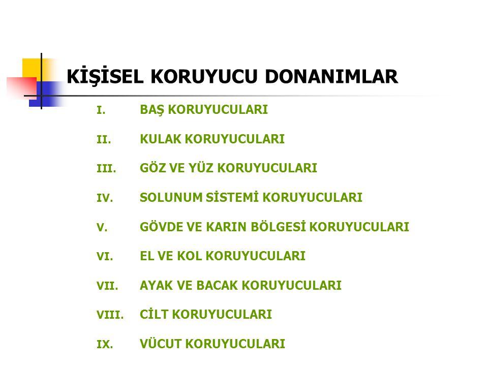KİŞİSEL KORUYUCU DONANIMLAR I.BAŞ KORUYUCULARI II.