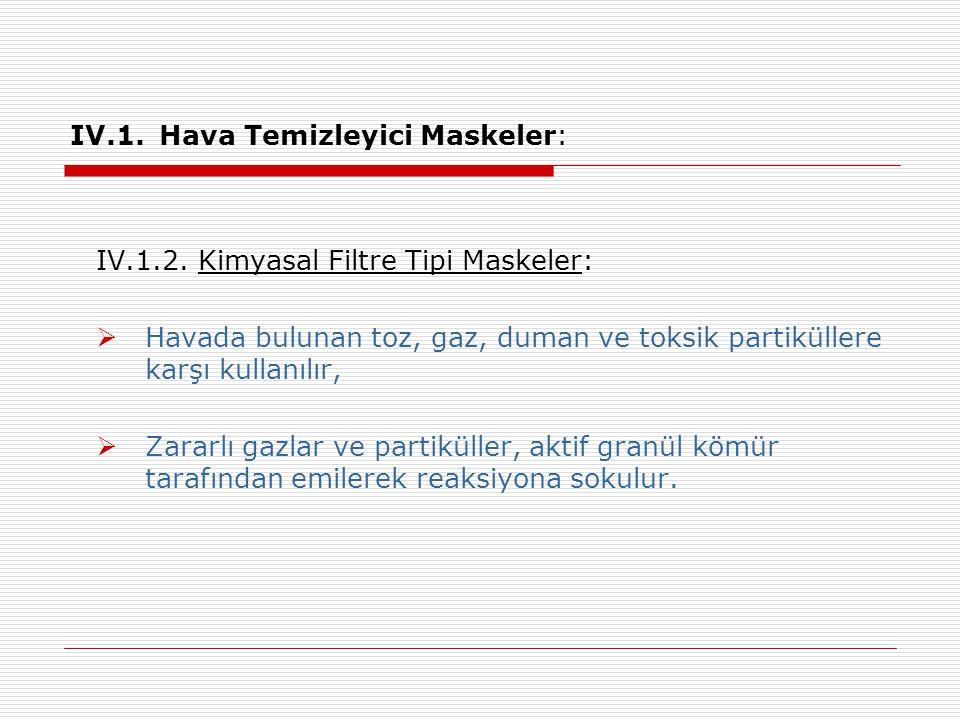 IV.1. Hava Temizleyici Maskeler: IV.1.2. Kimyasal Filtre Tipi Maskeler:  Havada bulunan toz, gaz, duman ve toksik partiküllere karşı kullanılır,  Za