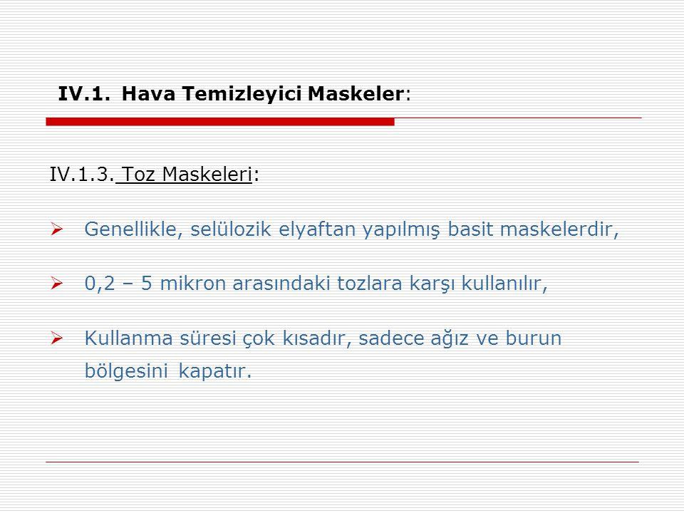 IV.1.Hava Temizleyici Maskeler: IV.1.3.