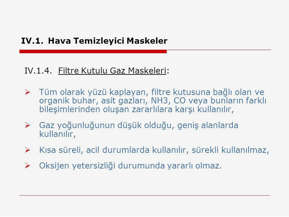 IV.1.Hava Temizleyici Maskeler IV.1.4.