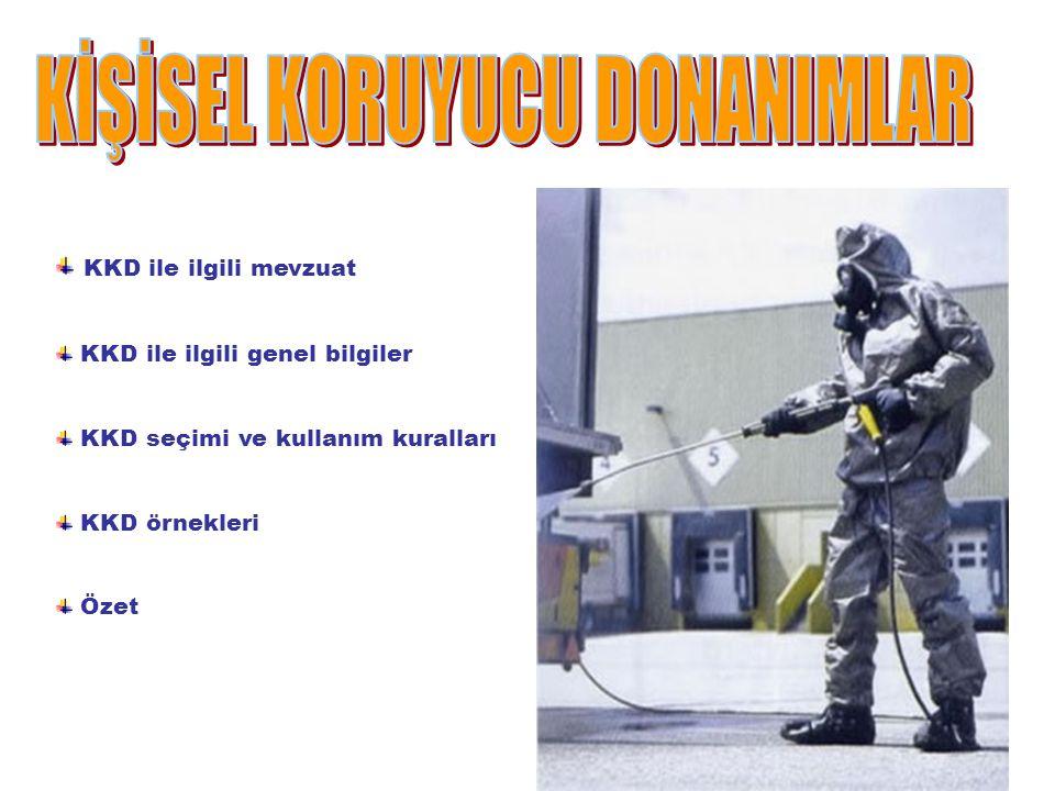 KKD ile ilgili mevzuat KKD ile ilgili genel bilgiler KKD seçimi ve kullanım kuralları KKD örnekleri Özet