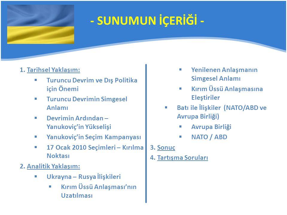 Yenilenen Anlaşmanın Simgesel Anlamı Rusya ile koparılan bağların tekrar yenilenmesi ümidi ve Anayurt Rusya'ya dönüş sinyali Kırım'daki üssün Rusya icin stratejik öneminin daha iyi anlaşılması (Novorossisk üssüne ilişkin olarak) Kırım'daki çoğunluğu Rus olan halk'ın memnun edilmesi ¹⁸ Kırım'daki Tatar azınlığın, ¹⁹ – bu anlaşmayı bir güvenlik tehdidi olarak görmesi, – bölgedeki Rus varlığının bölünmeye yol açacağını düşünmesi – Tatar gençleri arasında radikal örgütlenmelere neden olunduğu kuşkusu ¹⁸ Spiegel Online International, spiegel.de ¹⁹ Underrepresented Nations and Peoples Organization