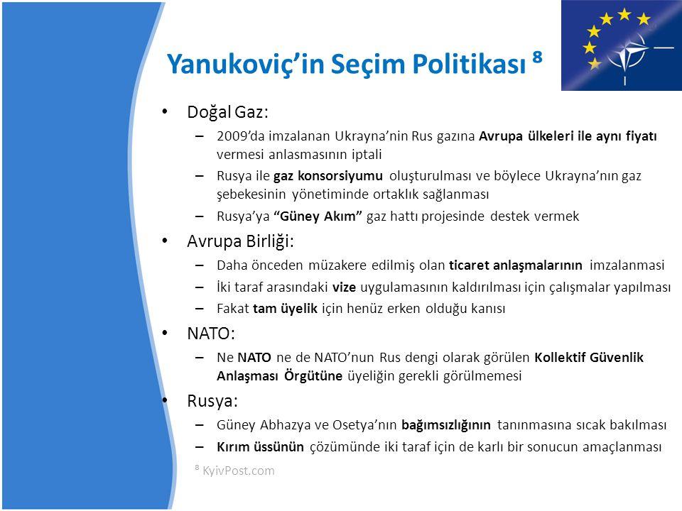 17 Ocak 2010 Seçimleri – Kırılma Noktası Viktor Yanukoviç = % 48.95 Yulia Timoşenko = % 45.47 ⁹ Bu seçim Turuncu Devrim'in bir referandumu olarak nitelendirilmistir.
