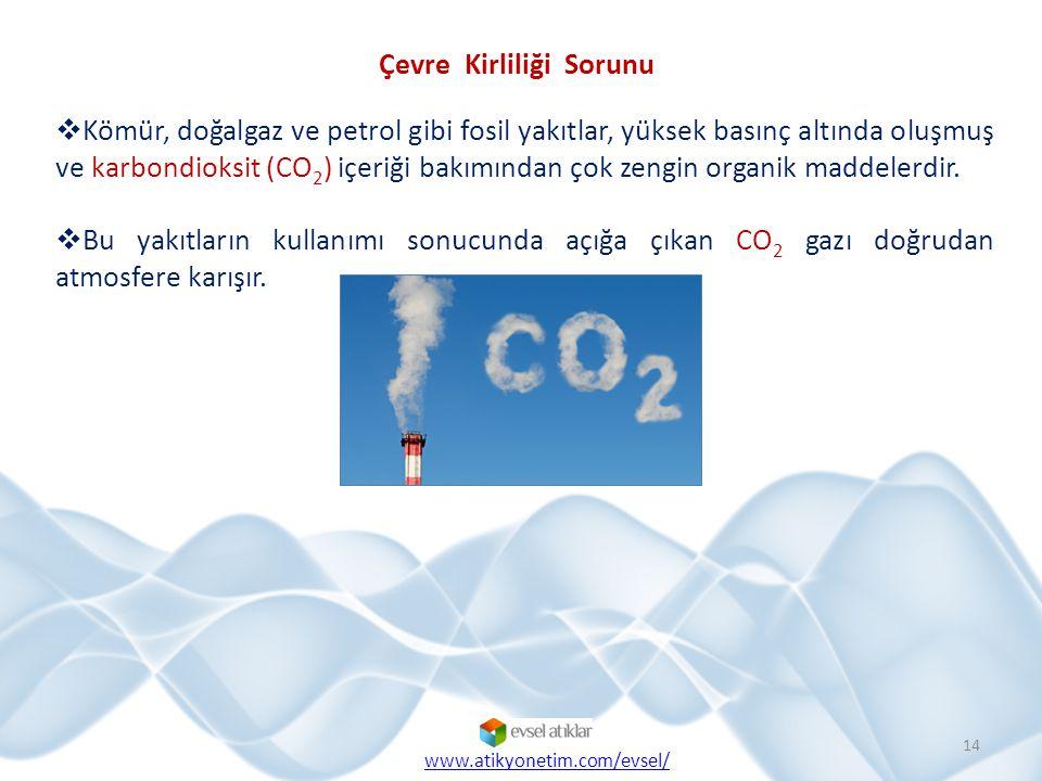 Çevre Kirliliği Sorunu  Kömür, doğalgaz ve petrol gibi fosil yakıtlar, yüksek basınç altında oluşmuş ve karbondioksit (CO 2 ) içeriği bakımından çok zengin organik maddelerdir.