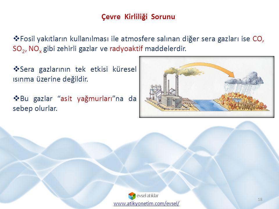  Fosil yakıtların kullanılması ile atmosfere salınan diğer sera gazları ise CO, SO 2, NO x gibi zehirli gazlar ve radyoaktif maddelerdir. 18 Çevre Ki