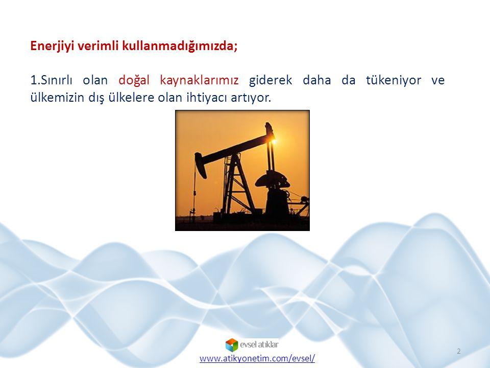Enerjiyi verimli kullanmadığımızda; 1.Sınırlı olan doğal kaynaklarımız giderek daha da tükeniyor ve ülkemizin dış ülkelere olan ihtiyacı artıyor.