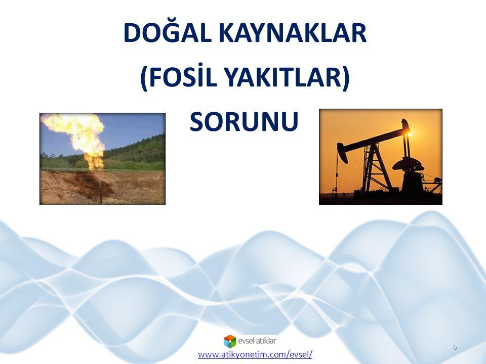 DOĞAL KAYNAKLAR (FOSİL YAKITLAR) SORUNU 6 www.atikyonetim.com/evsel/