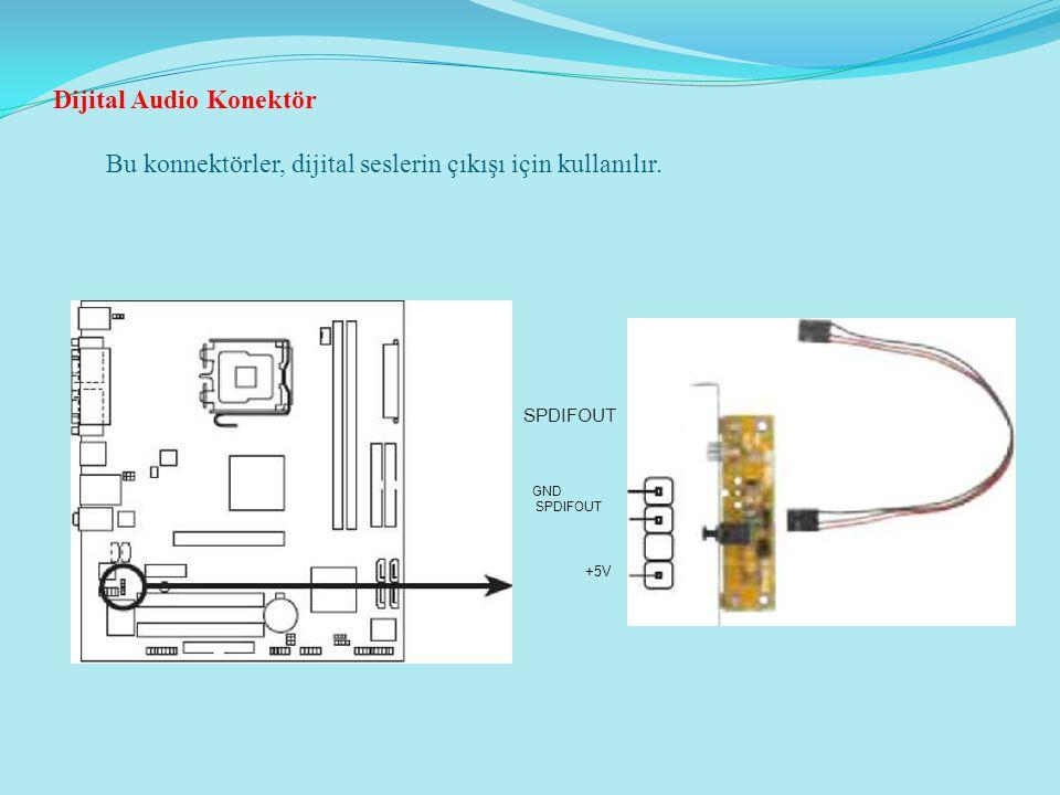 Dijital Audio Konektör Bu konnektörler, dijital seslerin çıkışı için kullanılır. SPDIFOUT GND SPDIFOUT +5V
