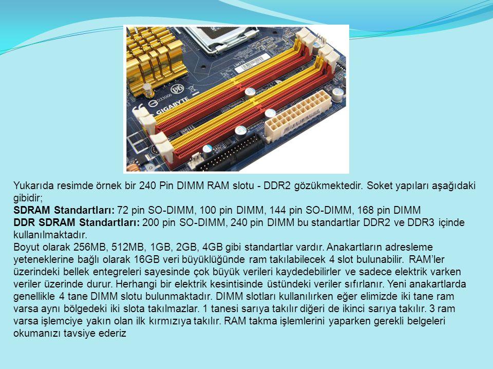 Yukarıda resimde örnek bir 240 Pin DIMM RAM slotu - DDR2 gözükmektedir. Soket yapıları aşağıdaki gibidir; SDRAM Standartları: 72 pin SO-DIMM, 100 pin
