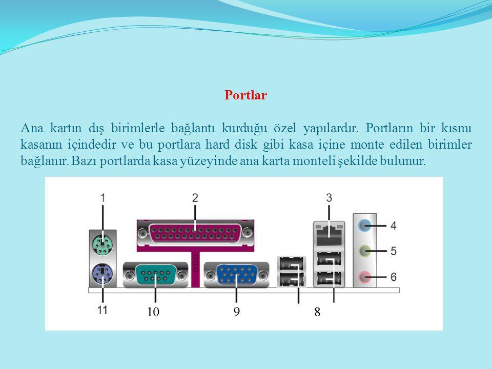 Portlar Ana kartın dış birimlerle bağlantı kurduğu özel yapılardır. Portların bir kısmı kasanın içindedir ve bu portlara hard disk gibi kasa içine mon