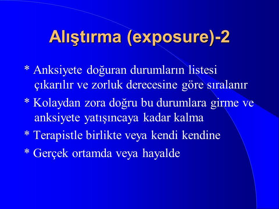 Alıştırma (exposure)-1 * Anksiyete oluşturan ortamlara girmesini ve ortamda kalmasını sağlayarak anksiyetenin azalması ve sönmesini sağlamak * Alışma