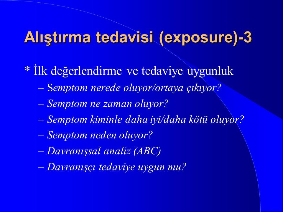 Alıştırma tedavisi (exposure)-2 * Korkulan durum veya nesneyle kişiyi gerçek ortamda veya imgelemde yüzleştirmek, * Korku azalıncaya veya sönünceye ka