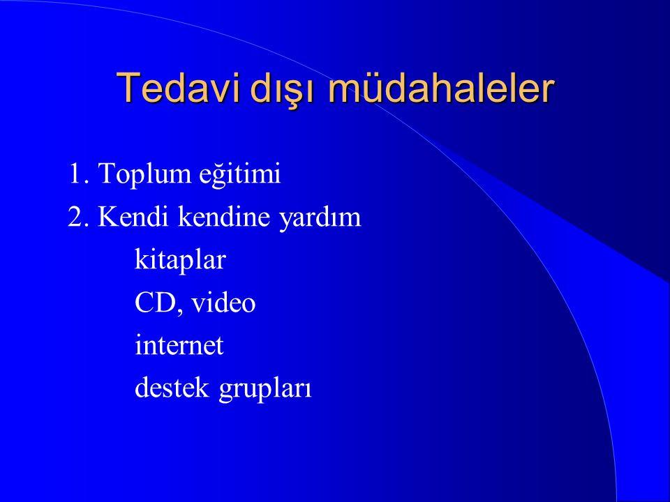 Tedavi yaklaşımları 1. Önleme 2. Tedavi dışı müdahaleler 3. İlaç tedavileri 4. Psikolojik tedaviler (BDT, EMDR..) 5. Yeni tedavi biçimleri