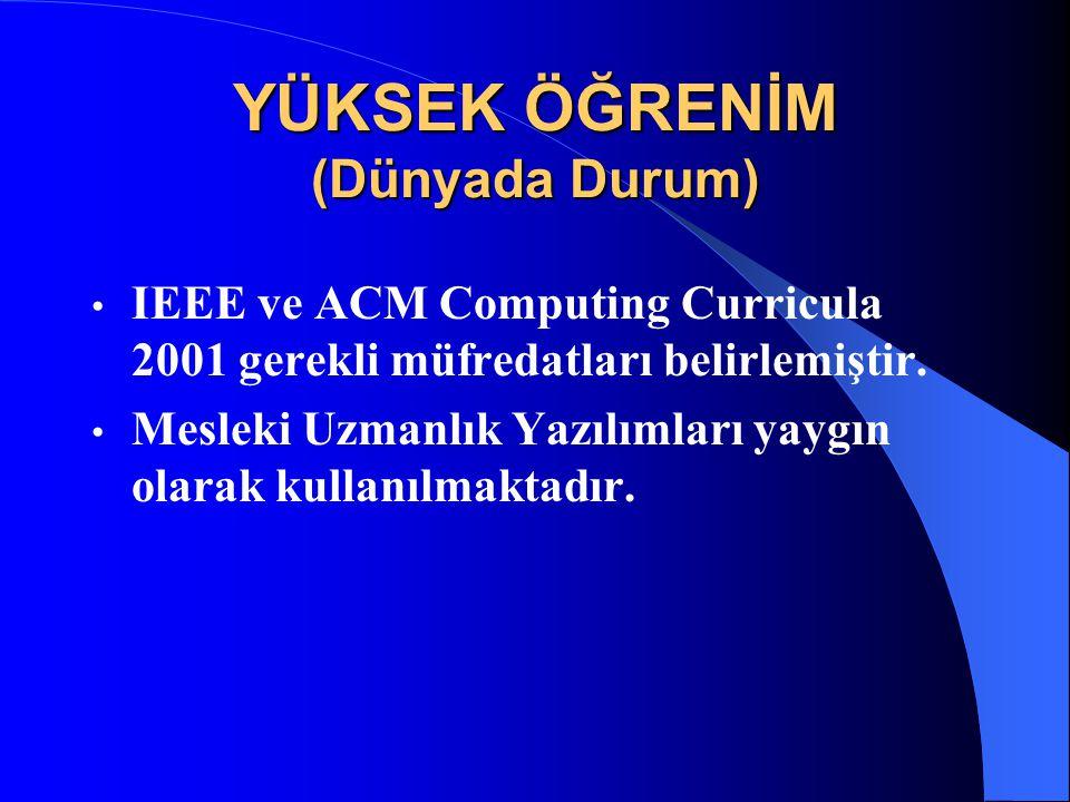 YÜKSEK ÖĞRENİM (Dünyada Durum) IEEE ve ACM Computing Curricula 2001 gerekli müfredatları belirlemiştir. Mesleki Uzmanlık Yazılımları yaygın olarak kul