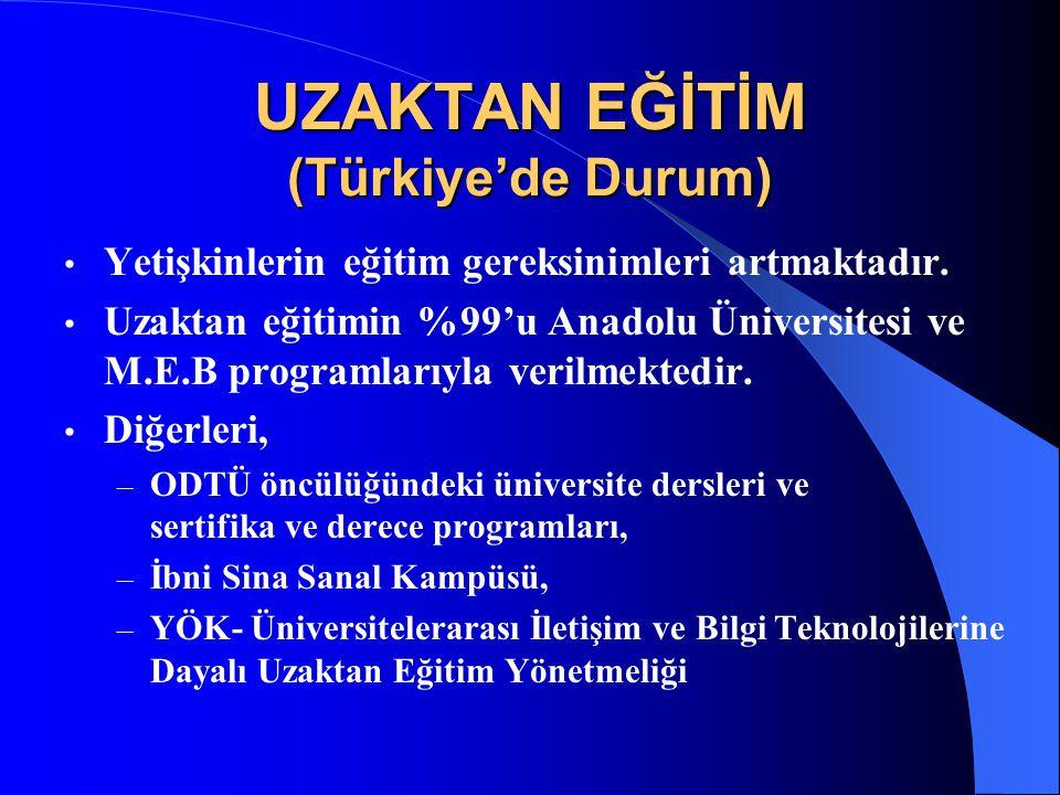 UZAKTAN EĞİTİM (Türkiye'de Durum) Yetişkinlerin eğitim gereksinimleri artmaktadır. Uzaktan eğitimin %99'u Anadolu Üniversitesi ve M.E.B programlarıyla
