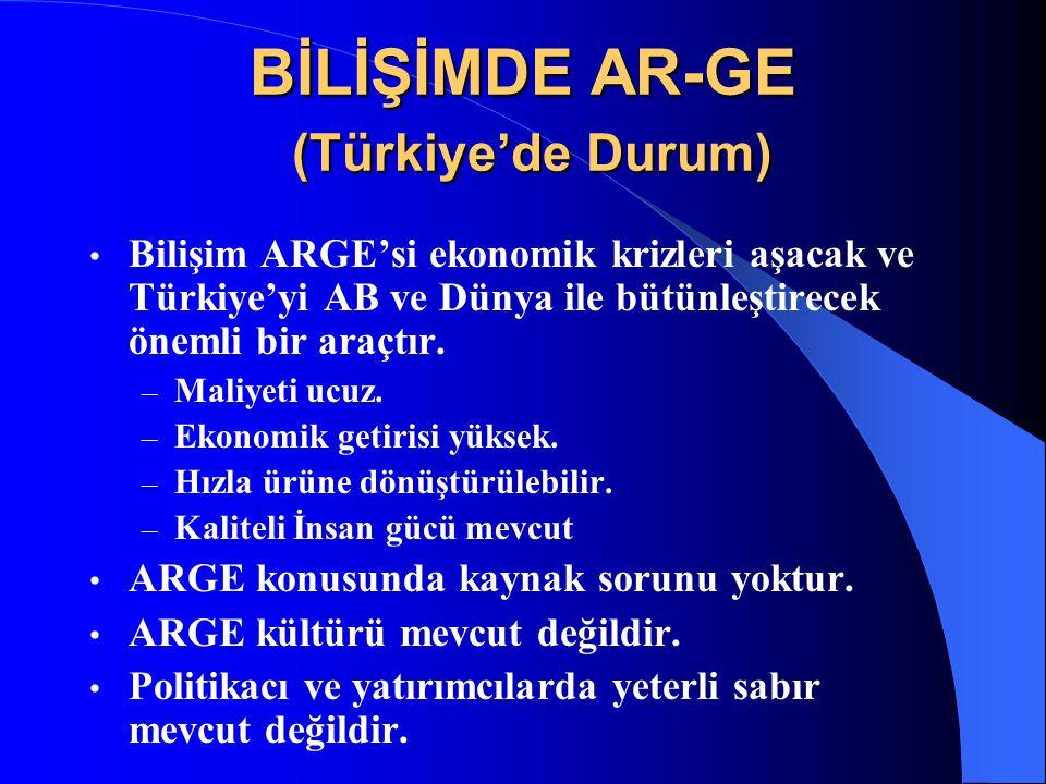 BİLİŞİMDE AR-GE (Türkiye'de Durum) Bilişim ARGE'si ekonomik krizleri aşacak ve Türkiye'yi AB ve Dünya ile bütünleştirecek önemli bir araçtır. – Maliye