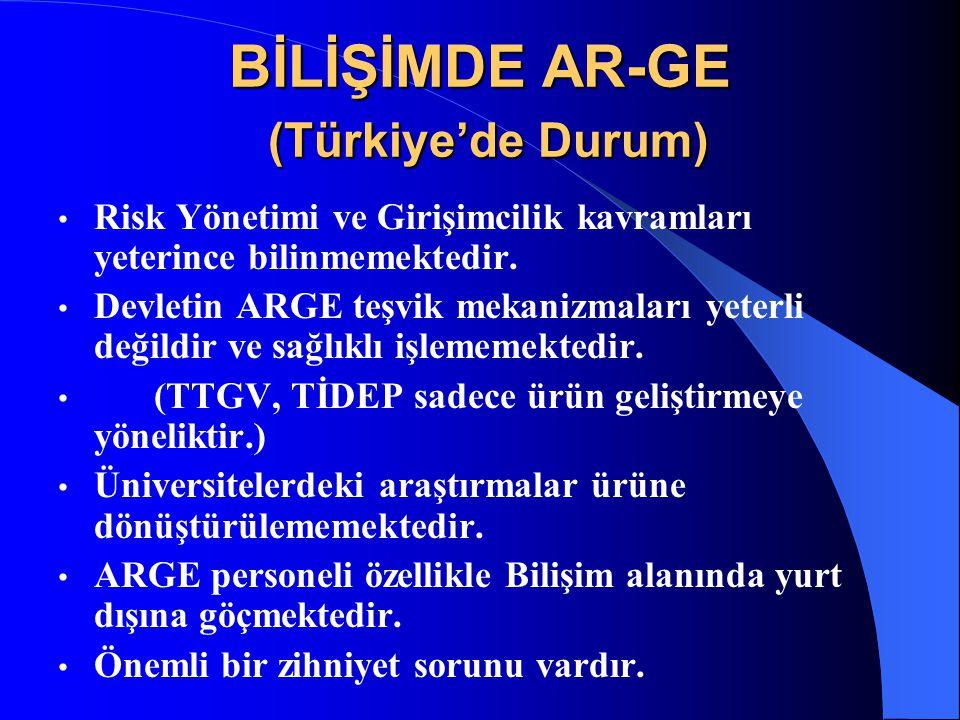 BİLİŞİMDE AR-GE (Türkiye'de Durum) Risk Yönetimi ve Girişimcilik kavramları yeterince bilinmemektedir. Devletin ARGE teşvik mekanizmaları yeterli deği