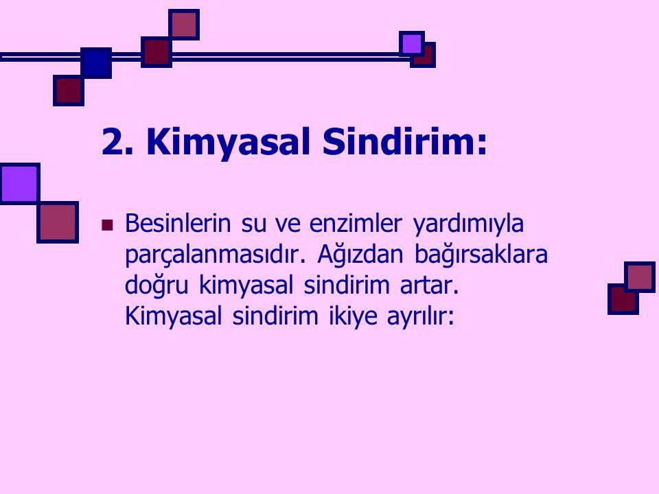 Kimyasal sindirim ikiye ayrılır: A) Hücre içi sindirim: Hücre içine alınan besin moleküllerinin lizozomlarda sindirilmesine denir.