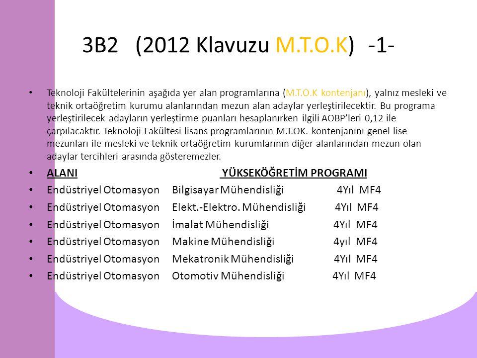 3B2 (2012 Klavuzu M.T.O.K)-1- Teknoloji Fakültelerinin aşağıda yer alan programlarına (M.T.O.K kontenjanı), yalnız mesleki ve teknik ortaöğretim kurumu alanlarından mezun alan adaylar yerleştirilecektir.