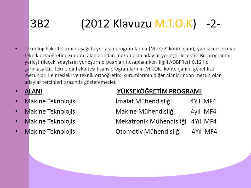 3B2(2012 Klavuzu M.T.O.K)-2- Teknoloji Fakültelerinin aşağıda yer alan programlarına (M.T.O.K kontenjanı), yalnız mesleki ve teknik ortaöğretim kurumu alanlarından mezun alan adaylar yerleştirilecektir.