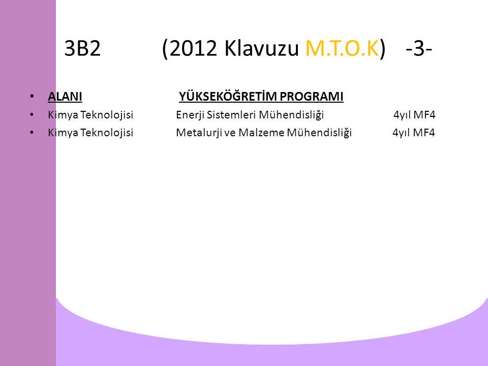 3B2(2012 Klavuzu M.T.O.K)-3- ALANI YÜKSEKÖĞRETİM PROGRAMI Kimya TeknolojisiEnerji Sistemleri Mühendisliği 4yıl MF4 Kimya TeknolojisiMetalurji ve Malzeme Mühendisliği 4yıl MF4