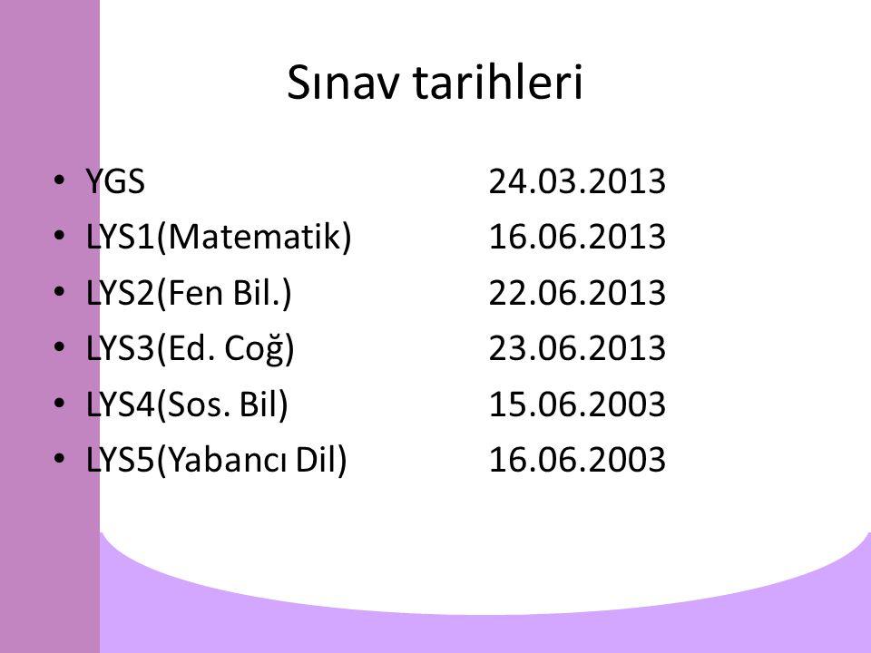 Sınav tarihleri YGS24.03.2013 LYS1(Matematik)16.06.2013 LYS2(Fen Bil.)22.06.2013 LYS3(Ed.