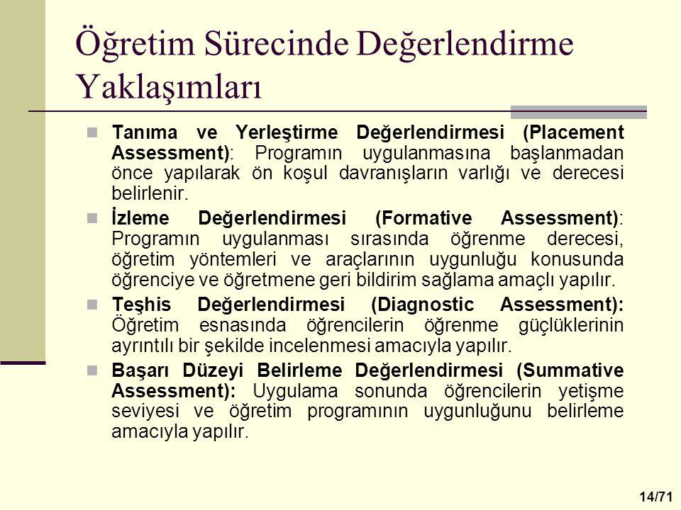Öğretim Sürecinde Değerlendirme Yaklaşımları Tanıma ve Yerleştirme Değerlendirmesi (Placement Assessment): Programın uygulanmasına başlanmadan önce ya