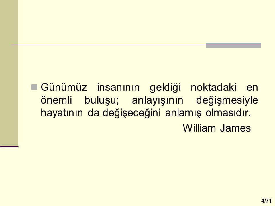 Günümüz insanının geldiği noktadaki en önemli buluşu; anlayışının değişmesiyle hayatının da değişeceğini anlamış olmasıdır. William James 4/71
