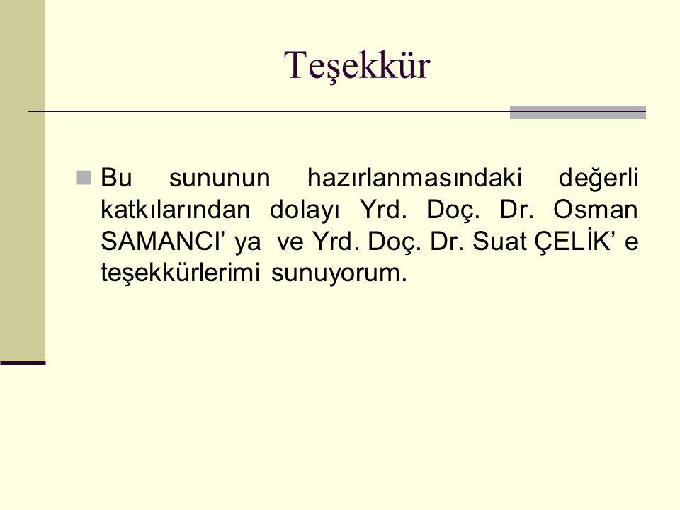 Teşekkür Bu sununun hazırlanmasındaki değerli katkılarından dolayı Yrd. Doç. Dr. Osman SAMANCI' ya ve Yrd. Doç. Dr. Suat ÇELİK' e teşekkürlerimi sunuy